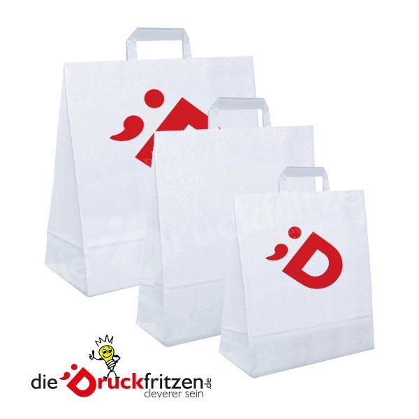 Papiertragetaschen mit flachen Papierhenkeln — weiß