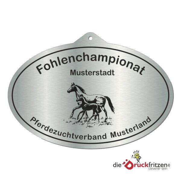 Edelstahl-Plaketten - Oval mit Aufhänger - 155 x 100 mm (155 x 109 mm)