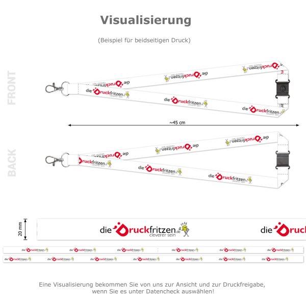 dieDruckfritzen.de - Schlüsselbänder mit Karabinerhaken und Sicherheitsclip - Visualisierung