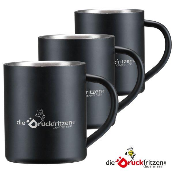 Edelstahlbecher Schwarz - 300 ml