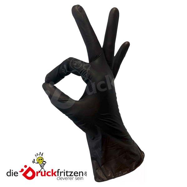 dieDruckfritzen.de - Vitril-Einweghandschuhe - Schwarz