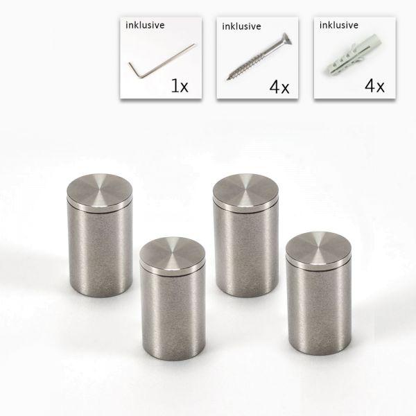 V2A Edelstahl-Abstandshalter Ø 13 mm x 20 mm - 4er Set
